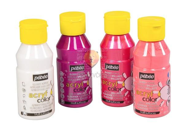 Set svetlečih akrilnih barv Acrylcolor rožnato-biserni odtenki, 4 x 150 ml