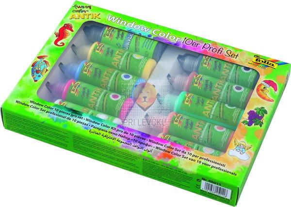 Set lepljivih barv za steklo Funny Color 10-delni set