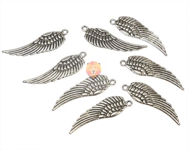 Kovinski obesek angelsko krilo 3 cm, 8 kos