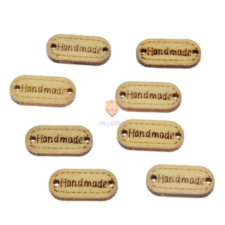 Leseni okraski naravni Handmade 22x11mm 8 kosov