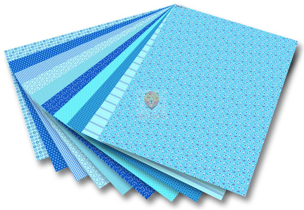 Karton BASICS z vzorci - moder 50 cm x 70 cm