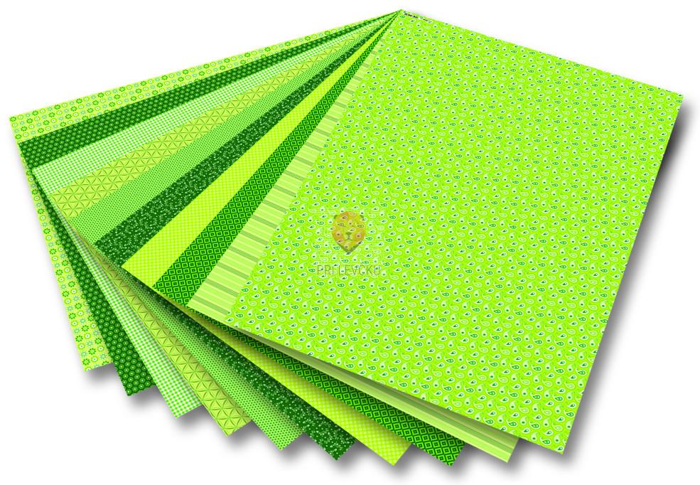 Karton BASICS z vzorci - zelen 50 cm x70 cm