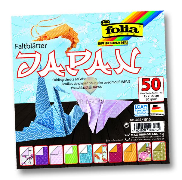 "Origami papir ""Japan,"" 15 cm x 15 cm, 50 listov"