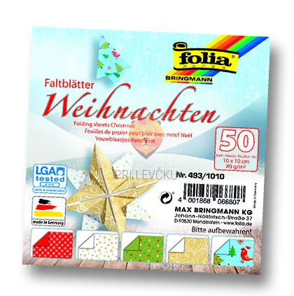 Origami papir Božič 10cmx10cm 50 listov