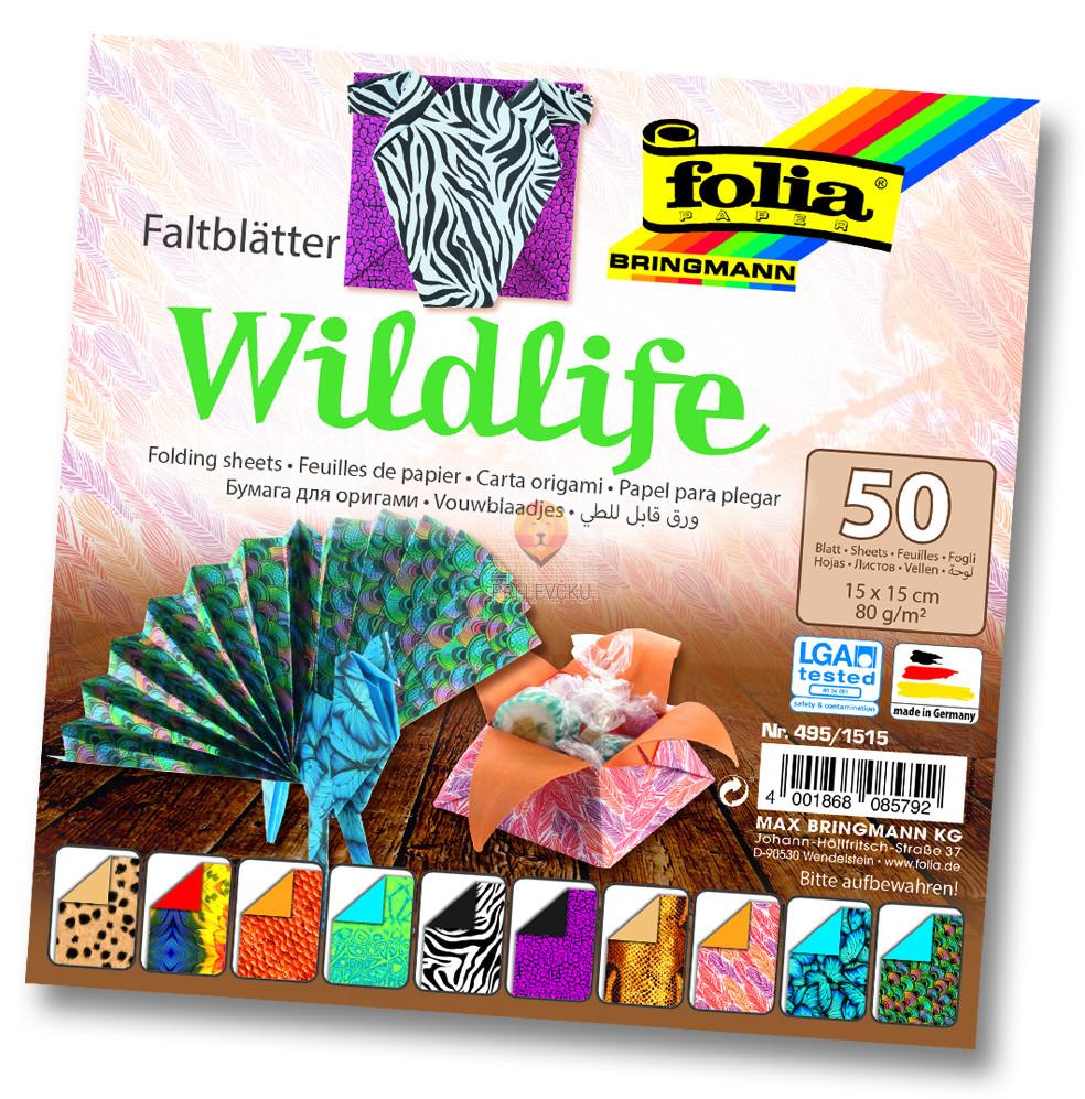Origami papir Wildlife, 15 cm x 15 cm