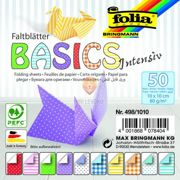 Origami papir Basics Intensiv, 10x10 cm, 80 g/m2, 50 listov