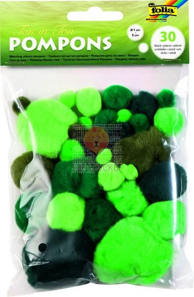 Pom pom cofki zeleni miks mešane velikosti 30 kosov