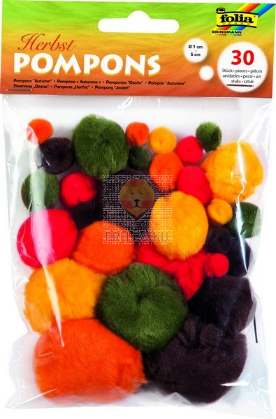 Pom pom cofki jesenski barvni miks različne velikosti 30 kosov