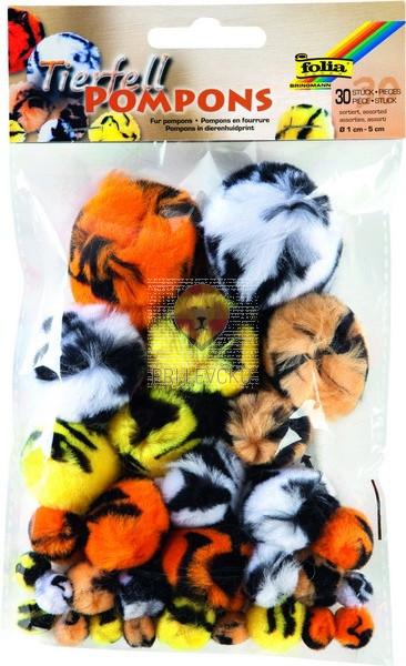 Pom pom cofki živalskih vzorci različne velikosti 30 kosov