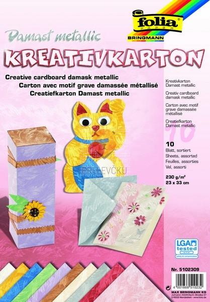 Karton Metallic v videzu damasta barvni miks 23x33cm 10 listov