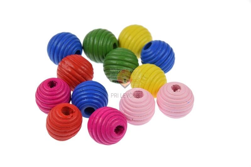Perle lesene okrogle z zarezami 18 mm 30g