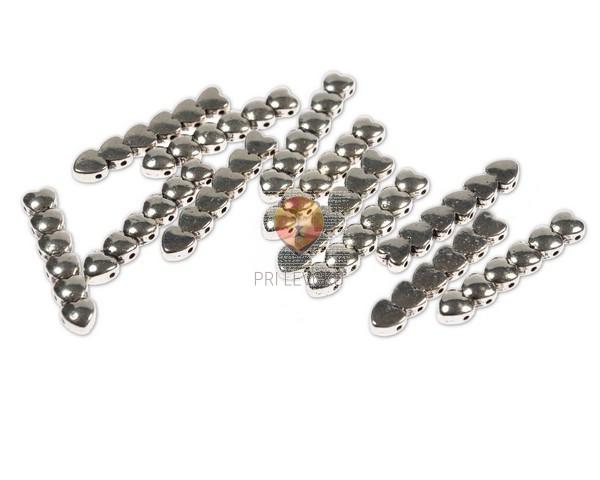 Kovinski členi za zapestnico - srčki, 12 kos