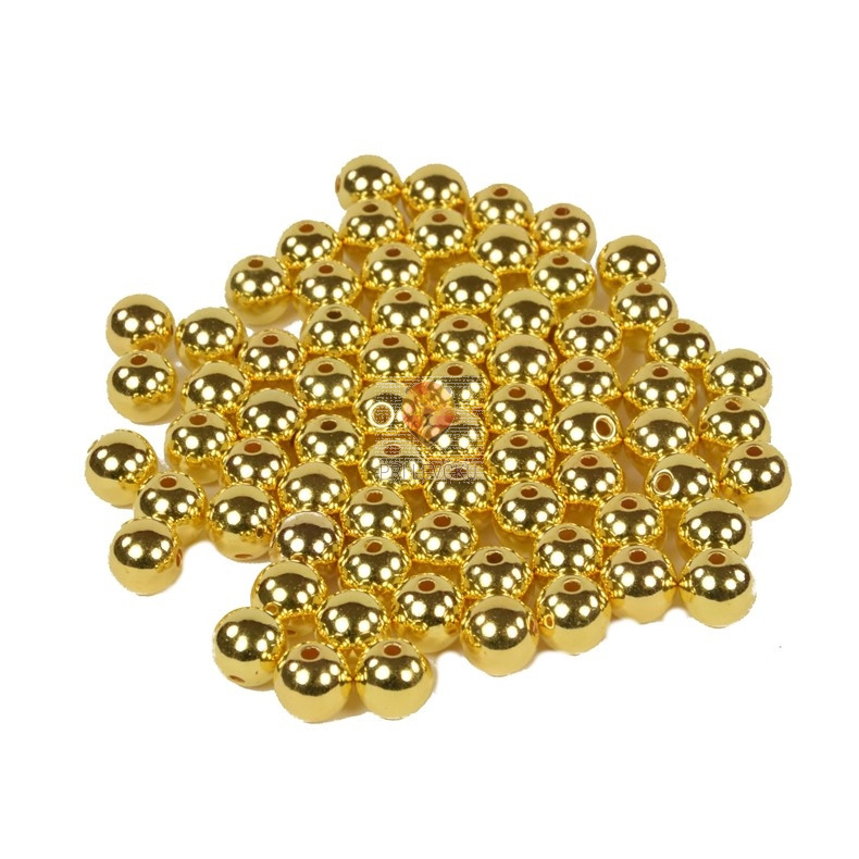 Perle plastične kovinski izgled okrogle 10mm 40g