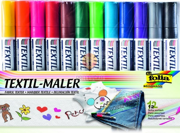 Flomastri za poslikavo tekstila 12 kosov