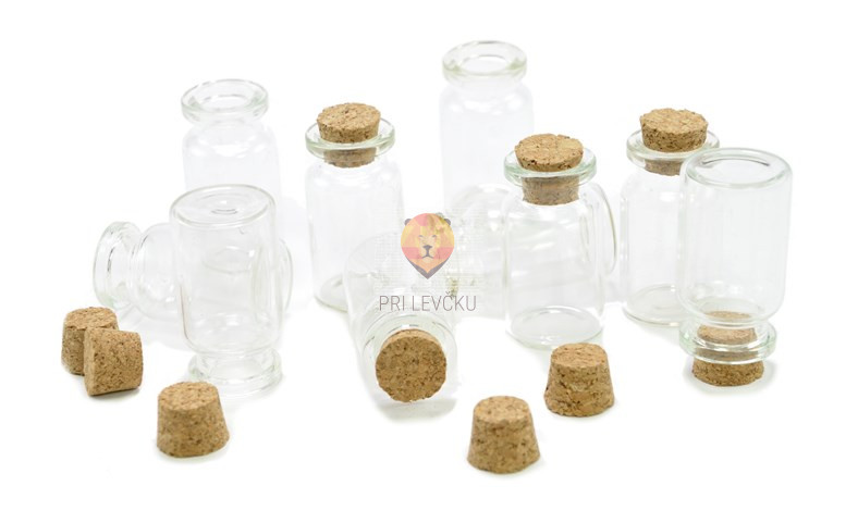 Steklenička s plutastim pokrovčkom, 38 x 20 mm, 1 kos