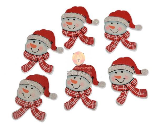 Leseni okraski - snežak s šalom 6 kos
