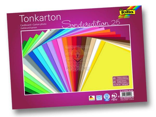 Tonkarton 220 g/m2 25x35cm 25 listov v barvnem asortimentu
