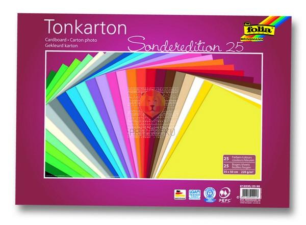 Tonkarton 220 g/m2, 35 x 50 cm, 25 listov v barvnem asortimentu