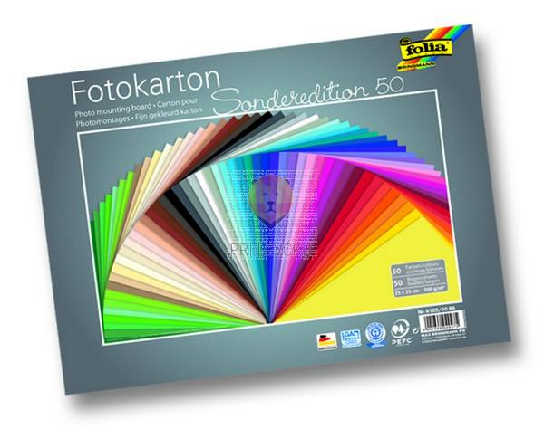 Fotokarton 300 g/m2 25x35cm 50 listov v barvnem asortimentu