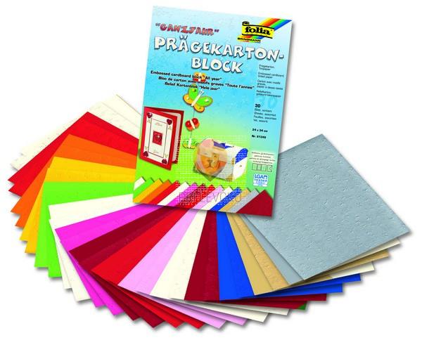 Blok reliefnega kartona v barvnem asortimentu 220g/m2 24x34cm 30 listov