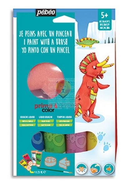 Set tempera barv Primacolor Dinozaver 4x20ml s pripomočki