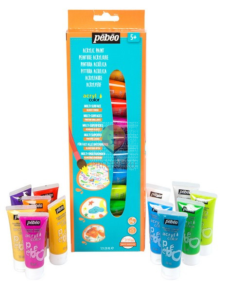 Set svetlečih akrilnih barv Acrylcolor z bleščicami, 12 x 20 ml