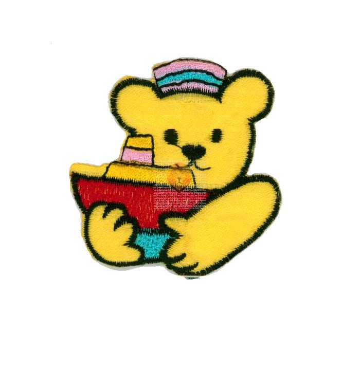 Našitek samolepilni - Medvedek z ladjico rumen 4,5 cm x 5,5 cm