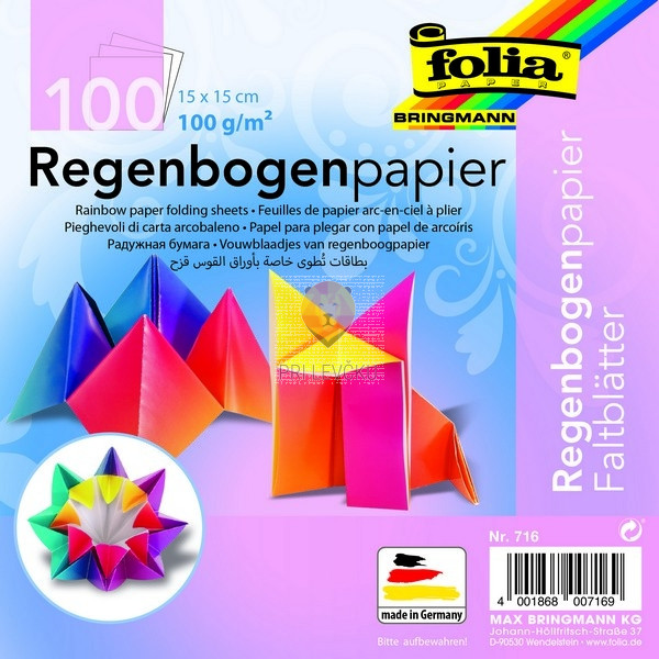 Mavrični origami papir 15x15cm 100 listov