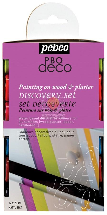 Set mat dekorativnih akrilnih barv P.BO DECO, 12 x 20 ml