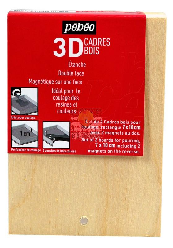 3D leseni okvir z dvignjenim robom z magnetom 7cm x 10cm