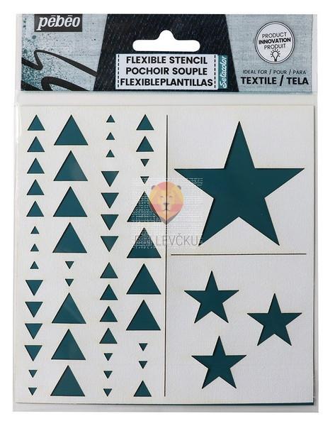 Fleksibilna šablona za tekstil Geometric 15x15cm