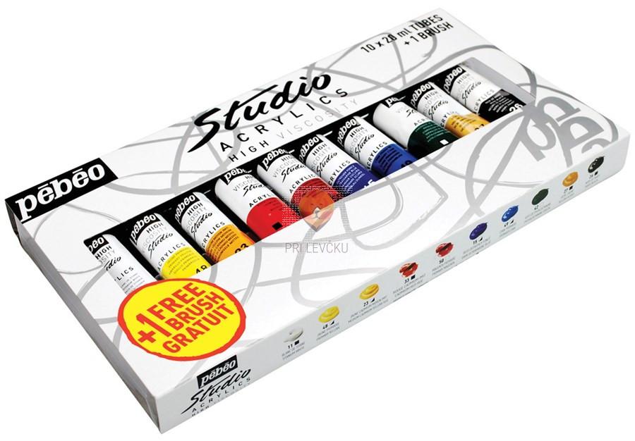 Akrilne barve STUDIO ACRYLICS set mali, 10 x 20 ml