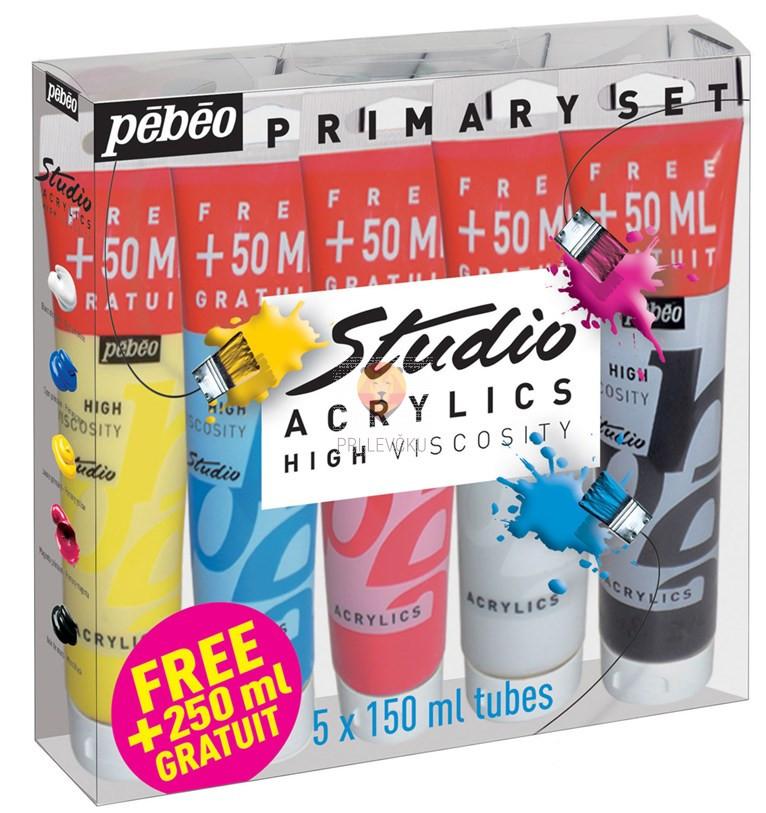 Primarni set akrilnih barv STUDIO ACRYLICS 5 kosov