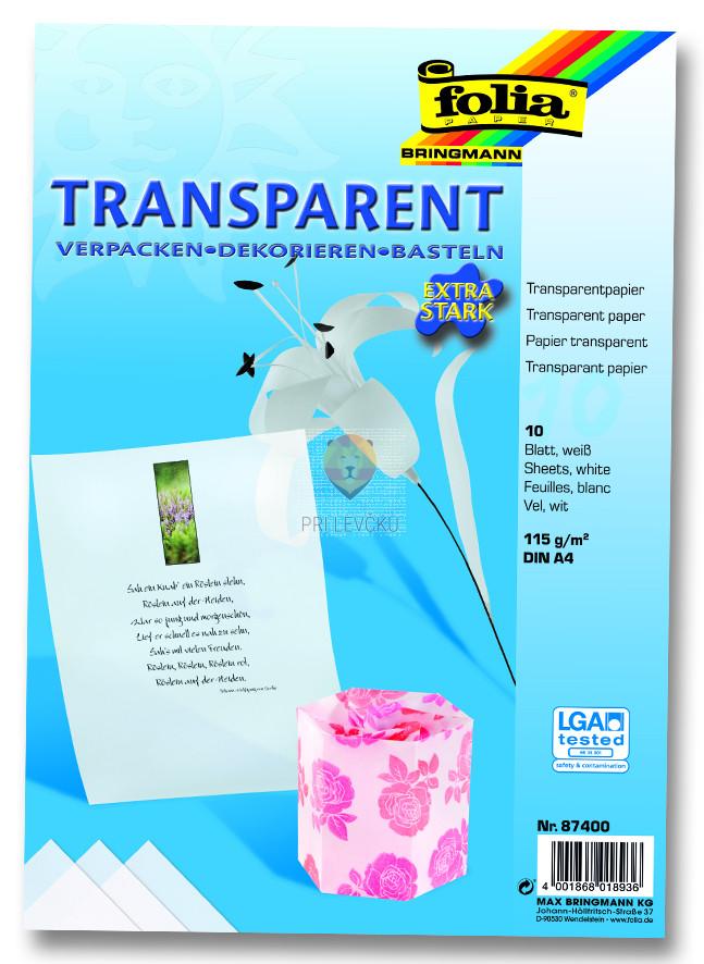 Transparentni papir A4 10 listov
