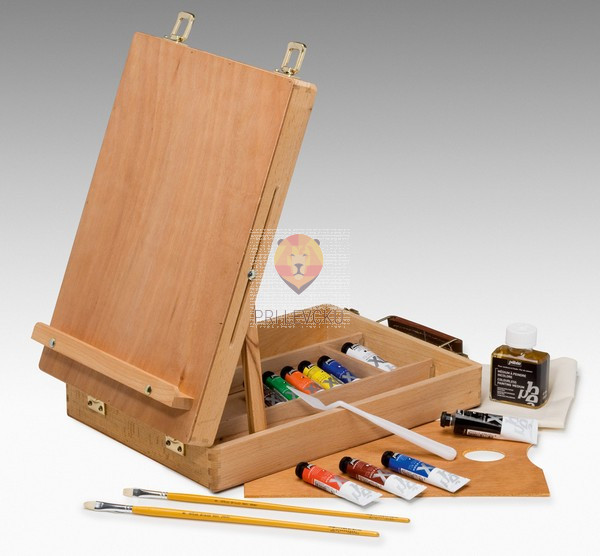 Set XL oljnih barv v kovčku/stojalu