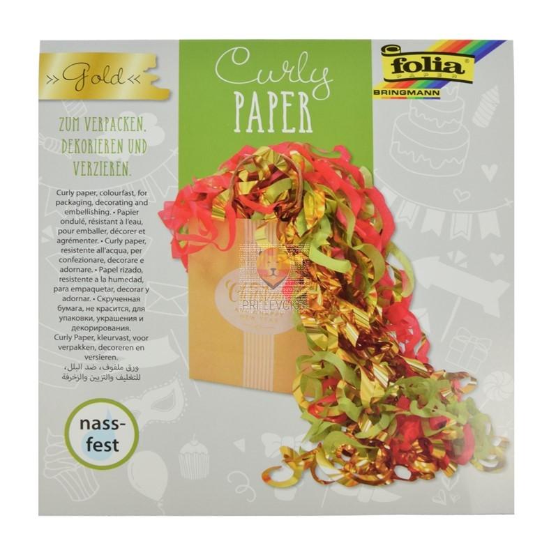 Curly dekorativni krep papir 60 slojev zlati miks