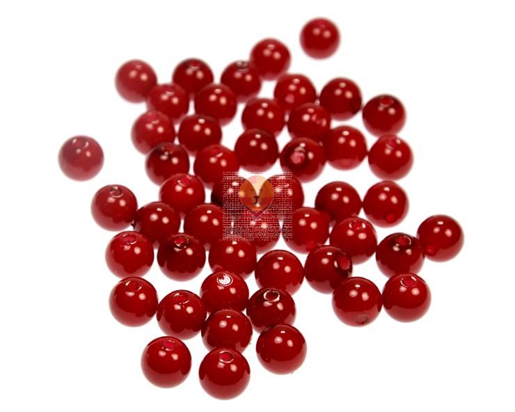 Akrilne perle okrogle 10 mm, rdeče barve, 50 kos