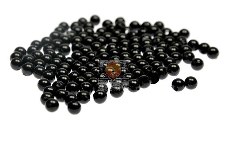 Akrilne perle okrogle 6 mm, črne barve, 15 g