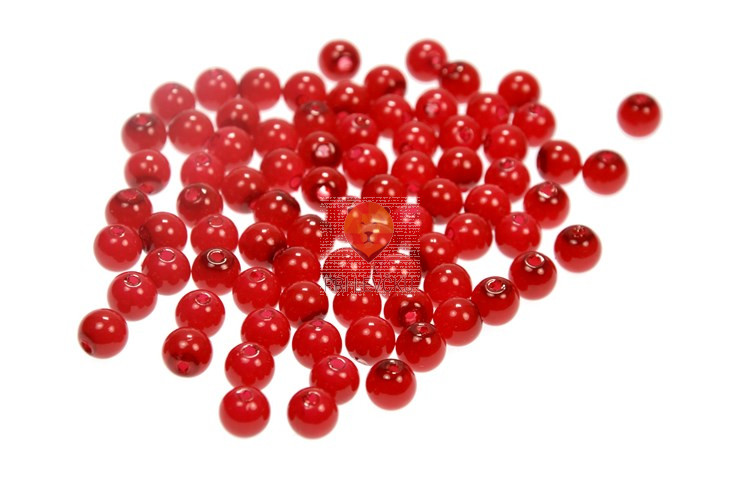 Akrilne perle okrogle 8 mm, rdeče barve, 20 g