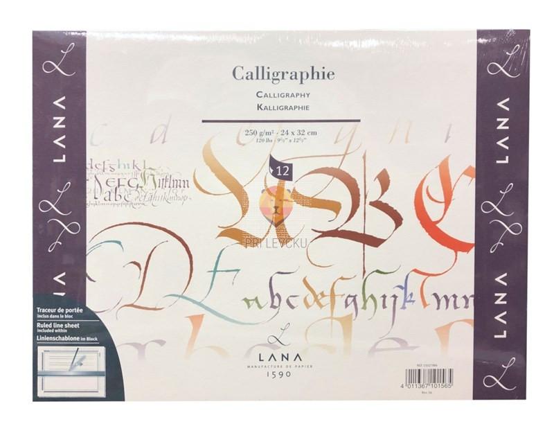 Blok papirjev za kaligrafijo 250g, 24x32cm, bel, 12 listov