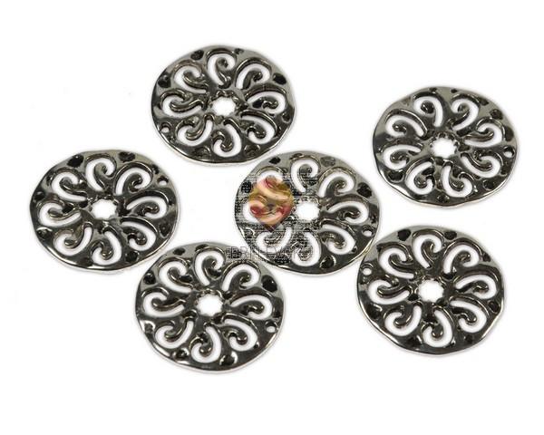 Kovinski členi okrogli - rožica, 12 kos