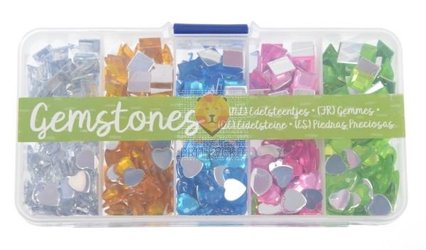 Set bleščic za lepljenje kvadratki in srčki 5 barv