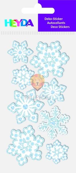 Nalepke za dekoracijo Snežinke s kamenčki