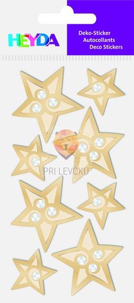 """Nalepke za dekoracijo """"Zlate zvezdice s kamenčki"""""""