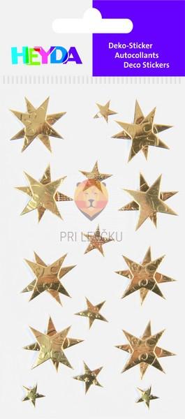 Nalepke za dekoracijo Zlate zvezdice svetleče