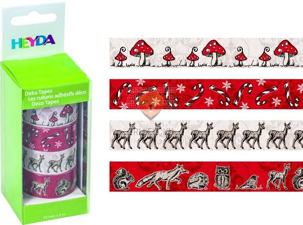 Set novoletnih dekorativnih lepilnih trakov Gobice 15mmx5m 4 kos