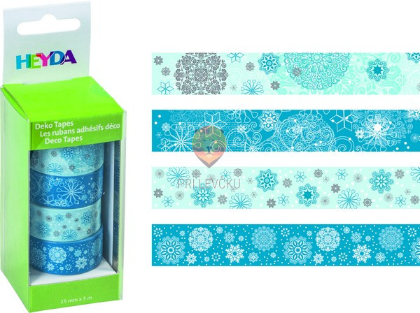 "Set novoletnih dekorativnih lepilnih trakov ""Snežinke,"" 15 mm x 5 m, 4 kos"