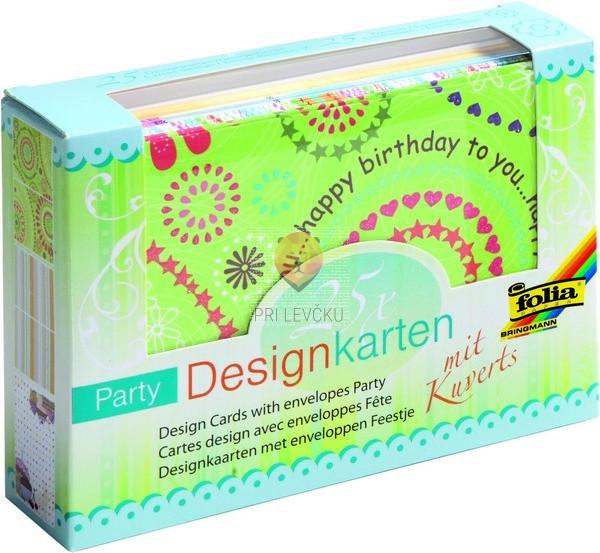 Set voščilnic s kuvertami motiv Party 25 kosov