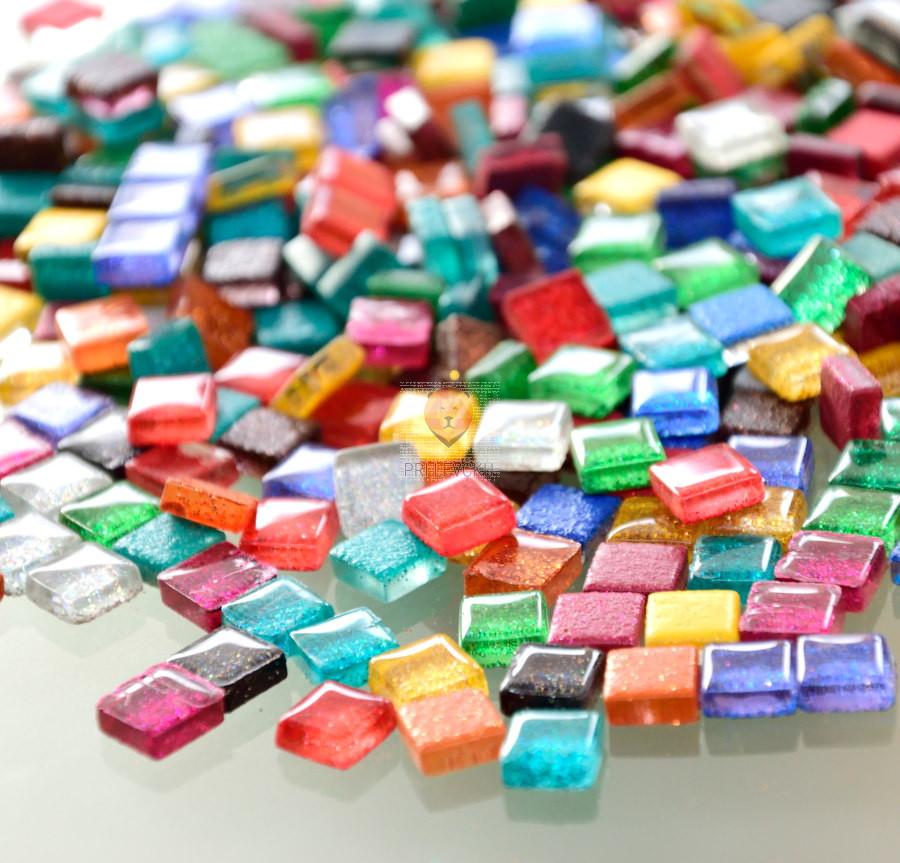 Mozaik soft z bleščicami 1x1cm 100g