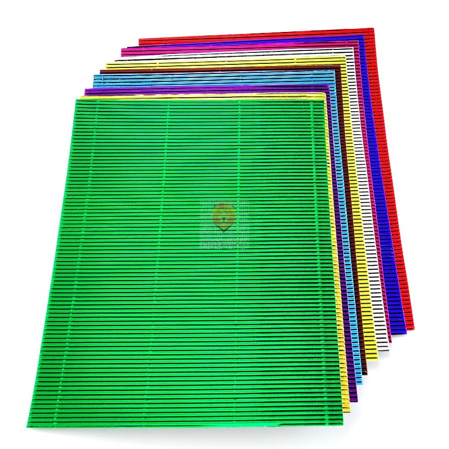 Valovita lepenka A4 set metalne barve